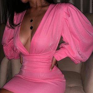 Dresses & Skirts - Solid Lantern Sleeve Tight Waist Bodycon Dress